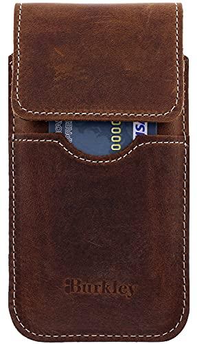 Burkley Gürteltasche für iPhone 11 Pro Handyhülle Holster Schutzhülle geeignet für Apple iPhone 11 Pro (5.8 Zoll) Hülle mit Gürtel-Schlaufe (Vertikal/Antik Braun)