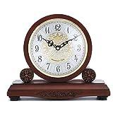 ZHAS Reloj de Madera Maciza Reloj de Madera Antiguo Reloj de Mesa de Madera Reloj de Mesa para Sala de Estar Clásico Europeo 28.5 * 24.3cm (Tamaño: 28.5 * 24.3cm)