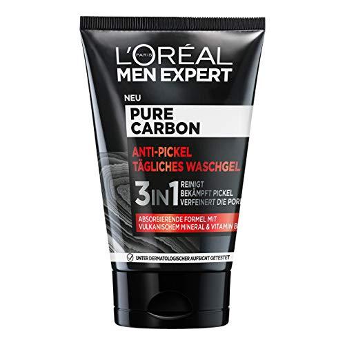 L'Oréal Men Expert Waschgel für das Gesicht, Anti-Pickel Gesichtsreinigung für Männer, Mit vulkanischem Mineral und Vitamin B3, Pure Carbon, 1 x 100 ml