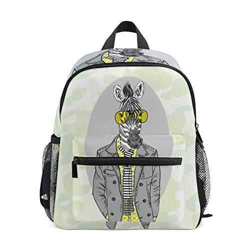 Mr Zebra Horse Toddler Backpack Bookbag Mini Shoulder Bag for 1-6 Years Travel Boys Girls Kids with Chest Strap Clip Whistle