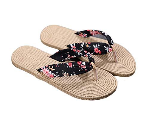 BIUU Chanclas para mujer  Sandalias de imitación de paja de viaje para mujer.  chancletas  Playa de fondo plano plana con chanclas para mujer zapatillas