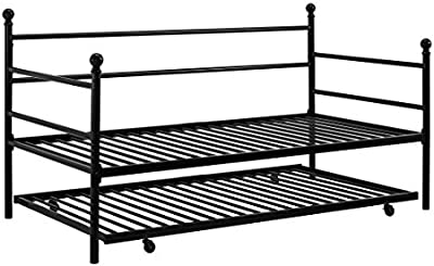 Stylish Modern Design and Sturdy Metal Frame Daybed and Trundle (Black)