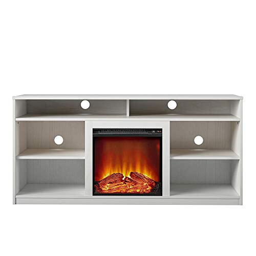 REALROOMS Vesta Fireplace TV Stand for TVs up to 65', White
