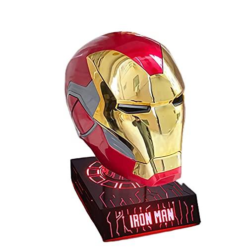 SPOTOR Hombre Hombre Máscara Superhéroe 1: 1 Armadura de hierro Hombre Casco MK85 con base de siete colores, Soporte de cambio de color Apertura eléctrica y cierre portátil, Serie de fiesta de disfrac