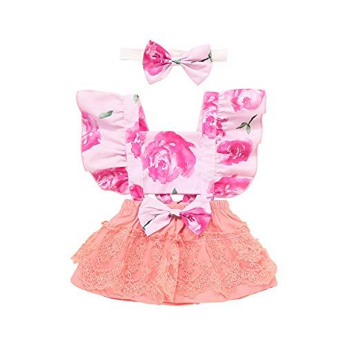 Pistazie - Conjunto de ropa de verano para bebé y niña, encaje, sin mangas, conjunto de pantalones y pantalón de 2 piezas rosa XS