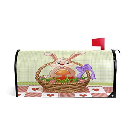 Mnsruu Osterbriefkasten-Abdeckung Hase im Korb, Übergröße, magnetische Briefkasten-Abdeckungen für Heim, Hof, Garten Dekoration