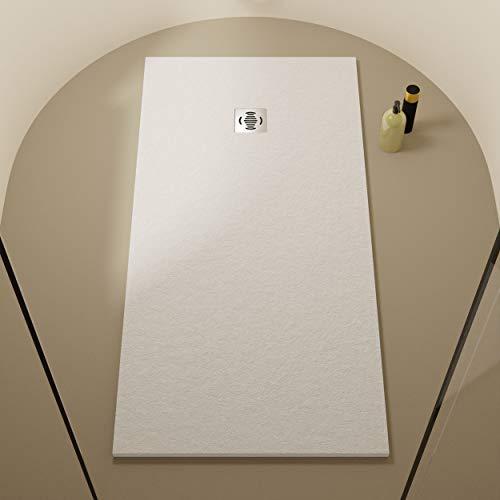 Crocket Duschwanne/duschtasse Rechteck Flach Antirutsch Stone - Komplettset – Alle Größen erhältlich – Inklusive Ablaufgarnitur - Weiß RAL 9003-80 x 100