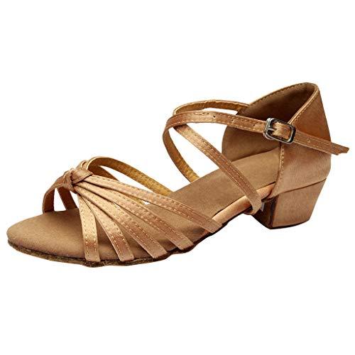 Tanzschuhe Damen Mädchen Standard Latin Party Dance Schuhe Ballsaal Salsa Tango Tanzschuhe Weiche Sohle für Mutter Tochter Gr 24-41 Celucke (Gelb, 33 EU)