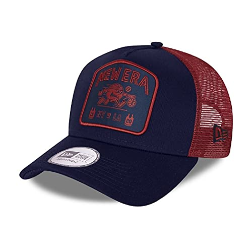 New Era Trucker Cap verstellbar Basecap American Sports Basketball Kappe Snapback blau rot - One-Size