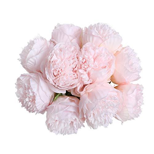 U'Artlines 2Bouquet 10Heads Artificial Peony Silk Flower Leaf Home Office Wedding Party Festival Bar Decor (Light Pink)