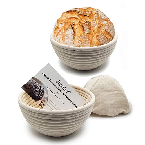 7 inch Banneton Proofing basket set of 2 - Proofing Bowls for Sourdough Bread Organic Bread Baskets for Professional Bread Baking