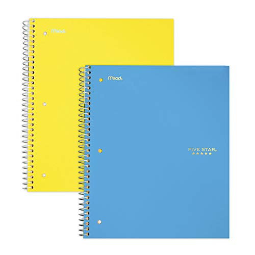 """Five Star Spiral Notebooks, 3 Subject, College Ruled Paper, 150 Sheets, 11"""" x 8-1/2"""", Teal, Yellow, 2 Pack (38444), Teal-Yellow"""