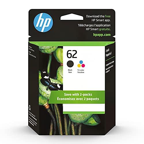 Original HP 62 Black/Tri-color Ink (2-pack) | Works with HP ENVY 5540, 5640, 5660, 7640 Series, HP OfficeJet 5740, 8040 Series, HP OfficeJet Mobile 200, 250 Series | Eligible for Instant Ink | N9H64FN