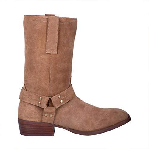 Herren High Equestrian Boots Western Cowboy Knight Reitstiefel, Vintage Round Toe Martin Stiefel Halten Sie Warme Schuhe Für Den Winter,Brown-46