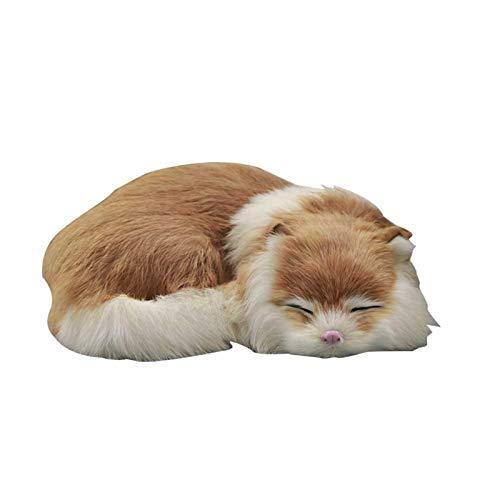 POHOVE Simulador de juguetes de felpa, gato de peluche realista, gato durmiendo realista, simulación de felpa suave gato de piel artificial para dormir fotografía de animales regalo (amarillo)