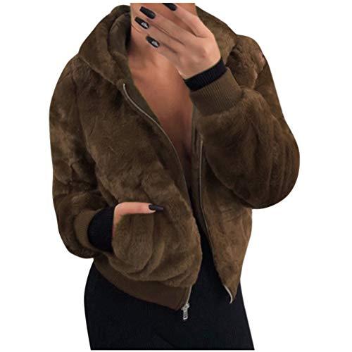 YEBIRAL Abrigos Mujer Invierno Rebajas,Color Sólido Peluche Bolsillo Cálido Grueso Sudadera con Capucha Abrigo Pelo Cortas Chaquetas de Lana