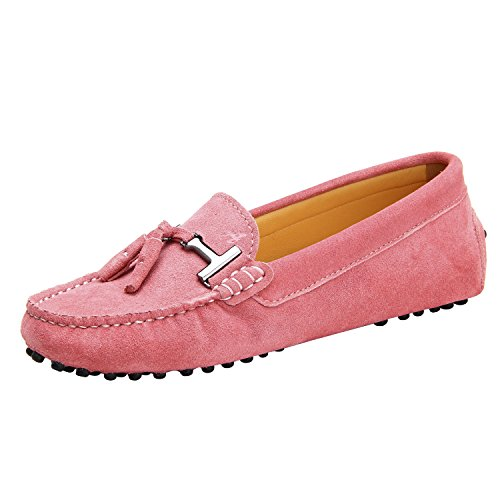 Shenduo Damen loafer wohnungen velourleder boot mokassins driving slippers d7057 rosa 3 uk