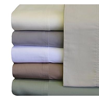 ABRIPEDIC TENCEL SHEETS, Silky Soft and Naturally Pure Fabric, 100% Woven Tencel Lyocell Sheet Set, 4PC Set, King Size, Ivory
