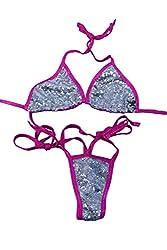Rose Gold/Pink Sequin Rave Bikini Set