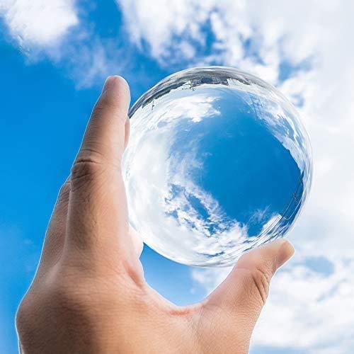 水晶玉 宙玉撮影 80mm 無色透明 クリア台座付き クリスタルボール 水晶球