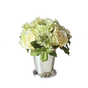 Silk Flower Arrangements Anchor1 Mini Artificial Silk Flowers with Vase for Home Decor, Flower Arrangements (Color : D)