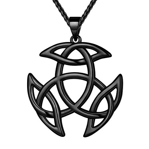 Beautlace Celtic Knot Necklace Black Gun Plated Good Luck Irish Celtic Knot Vintage Knot Pendant Birthday Gift for Women Men KP0055K