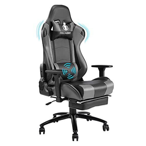 Gaming Chair Racing Style Office Chair, Big and Tall Office Chair with Thickened Padded, 360° Swivel and 155° Recline Computer Gaming Desk Chairs with Massage Lumbar Support for Adults and Teens