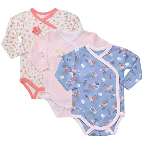 Asher & Olivia Baby Kimono Side Snap Onesies 3 Pc Girl Long Sleeve Bodysuit Set Heather Pink