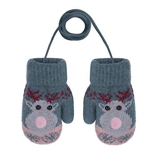 YSXY Niedliche Kinder Baby Fäustlinge Winter Warme Gestrickte Handschuhe mit Band Gefüttert Fausthandschuhe Strickhandschuhe für 2-6 Jahre Kleinkind Jungen Mädchen (Hirsch-Grün)