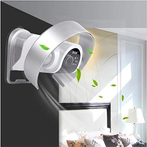 Ventilador sin hojas, ajuste de velocidad del viento de 9 velocidades, control remoto silenciador, montaje en pared, ventilador de piso