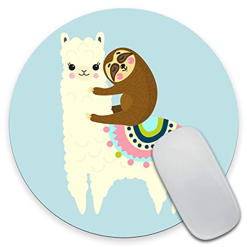 Amcove Cute Fluffy Cartoon Llama and Sloth Mouse Pad,Anti Slip Rubber Round Mousepads Desktop Notebook Mouse Mat for Working and Gaming
