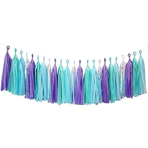 Mermaid Blue Purple Party Paper Garland Decorations Glitter Tassel for Christmas Baby Shower Birthday Nursery Décor
