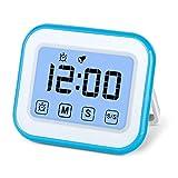 MOSUO Timer da Cucina Touch-Screen, Magnetico Timer Digitale/Clock/Sveglia Digitale con Cronometro, Orologio Digitale a Placche Metallo, 12/24 Ore, Countdown/Counting, Display LED, Bianco Blu