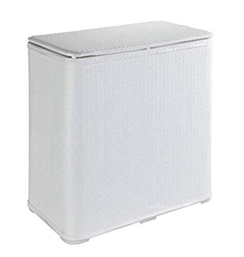 WENKO Coffre à linge Wanda - Panier à linge avec couvercle Capacité: 65 l, Plastique, 49 x 50 x 27 cm, Blanc