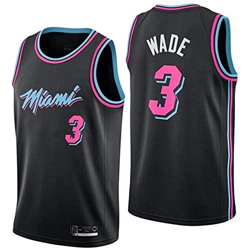 wsetrtg Miami Heat Camiseta 3 Wade Transpirable grabada Fresco y Transpirable Tejido Deportivo Que Absorbe la Humedad(Size:XL Color:A1)