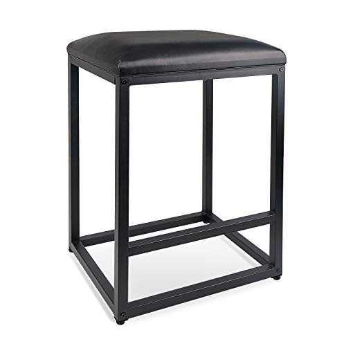 Leopard Bar Stool with Leather Cushion and Metal Base, 1 Chair (Black, 24' Height)