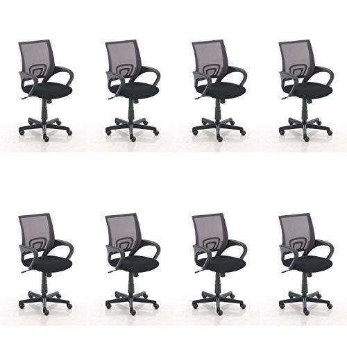 Lüllmann Genius - Silla giratoria de oficina (8 unidades), color gris