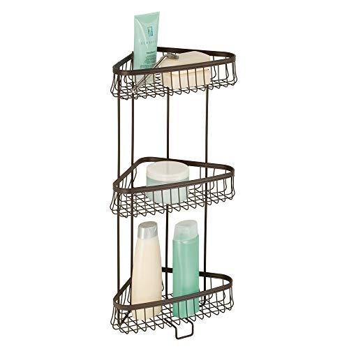 InterDesign York - Estantería de metal para ducha, 3 niveles, para toallas, jabón, champú, loción, accesorios, bronce