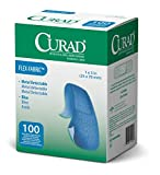 Curad Metal Detectable, Blue, Flex-Fabric, 1' X 3' Adhesive Bandages for Food Service (1)