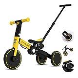 JHDPH3 Evolutif 5 en 1 Vélo Draisienne Tricycle Enfant Tricycle pour Bébé 1.5-5 Ans Vélo sans Pédale,avec Putter,Hauteur d'assise Réglable comme Cadeau pour Les Garçons et Les Filles