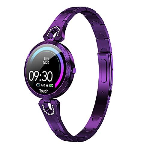 Relojes inteligentes con pantalla táctil completa de 1.08 'para mujeres, podómetro a prueba de agua IP67, reloj con monitor de sueño, reloj inteligente para teléfonos Android y teléfonos iOS (Azul)