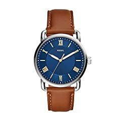 Fossil is inspired by American creativity and ingenuity. Bringing new life into the watch and leathers industry by making quality, fashionable accessories that are both fun and accessible. This 42mm Copeland features a blue sunray dial with Roman num...
