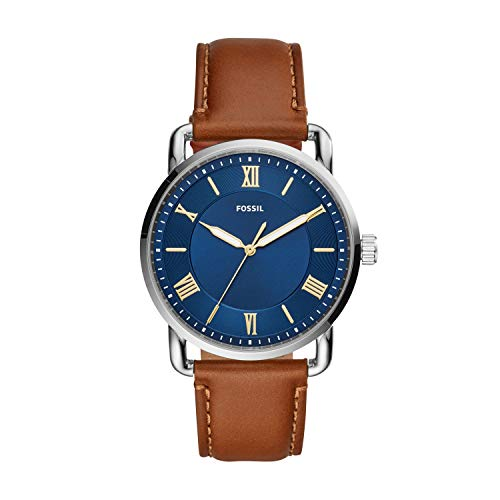 Fossil Men's Copeland Quartz Stainless Steel and Leather Three-Hand Watch, Color: Silver, Luggage (Model: FS5661)