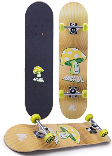 """Arcade Pro Skateboard 31"""" Standard Complete Skateboards Professional Complete Board w/Concave - Skate Boards Great for Beginners, Adults, Teens, Youth & Kids (7.75"""" Shroomy)"""