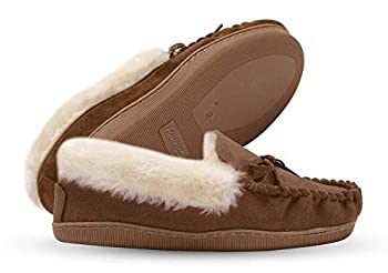 Pembrook Ladies Moccasin Slippers - M - Tan - Micro Suede Indoor and Outdoor Non-Skid Sole - Plush Slip On House Shoes for Adults Women Girls
