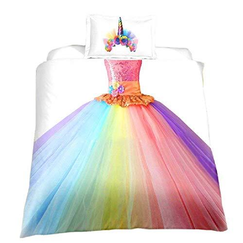 BAIYANG Children'S Bedding Set,Rainbow Princess Dress For Girls Duvet Cover With Pillowcase Single(135x200cm)