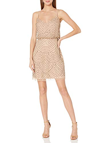 Adrianna Papell Women's Sleeveless V-Neck Blouson Beaded Cocktail Dress, Taupe/Pink, 16 (Apparel)