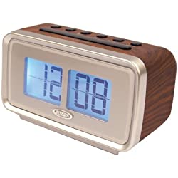 Jensen Compact Retro AM/FM Dual Alarm Clock Radio with Large Easy to Read Backlit LCD Display