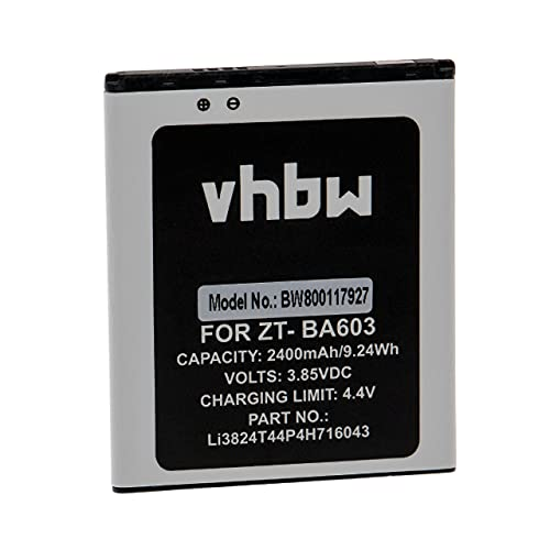 vhbw Akku kompatibel mit ZTE Blade A520C Dual SIM LTE, Blade A603 Handy Smartphone Handy (2400mAh, 3,85V, Li-Ion)