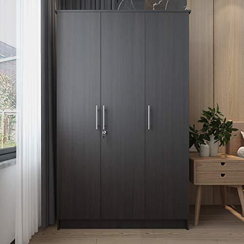 CozyCasa Bedroom Armoire Wardrobe Wooden Closet Clothes Cabinet Storage with 3 Doors, Shelves, Hanging Rod, Wood Wardrobe Closet with Lock for Bedroom, Finish in Dark Brown